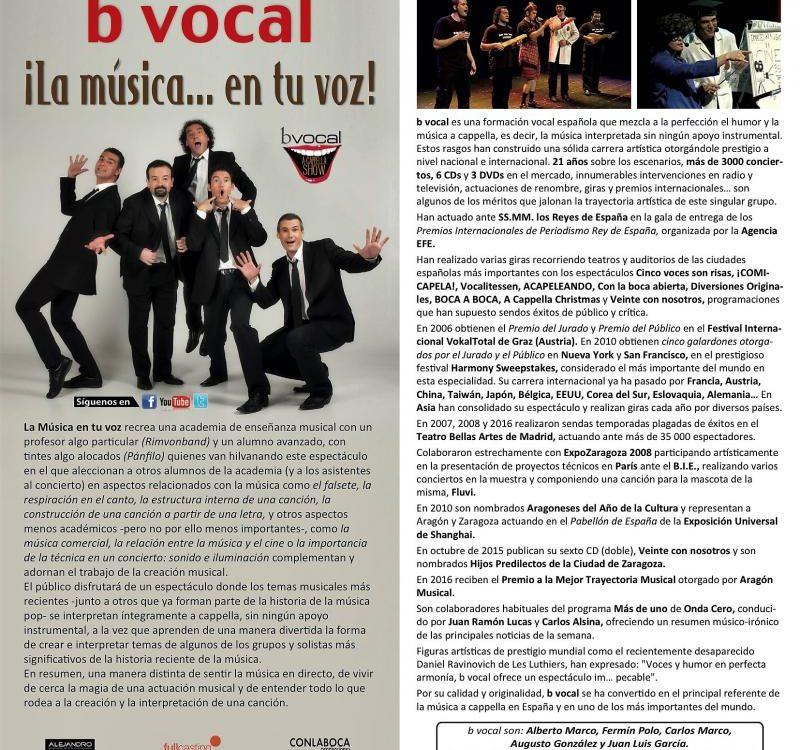 Conciertos didácticos b vocal: la música en tu voz